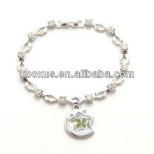 Lucky Four Leaf Clover Diamante Charm Bracelet
