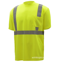 """High Vis Short Sleeve Safety Shirt Moisture Wicking Mesh 2"""" Reflective Tapes"""