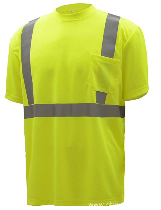 "High Vis Short Sleeve Safety Shirt Moisture Wicking Mesh 2"" Reflective Tapes"