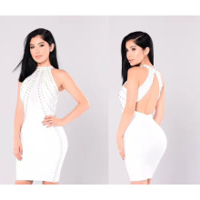 Nail Bead Bandage Dress with Sleeveless Dress