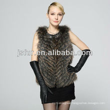 Luxurious warm winter real natural raccoon fur women vest