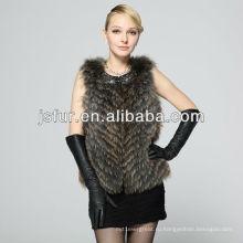 Роскошный теплый зимний реальный жилет женского енота