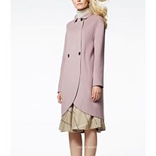 17PKCSC003 mulheres camada dupla casaco de lã de cashmere 100%