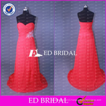 ED Bridal Elegant Sweetheart A Line Chiffon Long Red Bridesmaid Dress With Beaded Sash