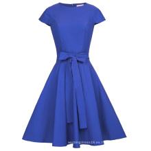 Belle Poque Retro Vintage Cap manga cuello del cuello azul 50s Rockabilly Swing partido vestido BP000361-3