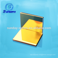 Optical flat mirror with gold coating