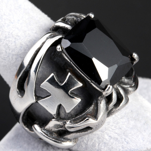 Cross gem ring