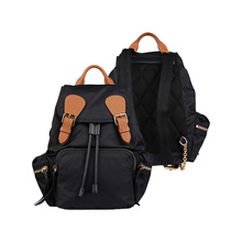 Nylon Vintage Ryggsäck Casual Daypack School Leather Ryggsäck