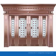 Motif de fleurs délicates de design moderne couvrant la porte en verre cuivre plaqués portes