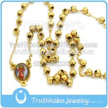 Mode Edelstahl Bead Blessed Mary Religiöse Kreuz Halskette