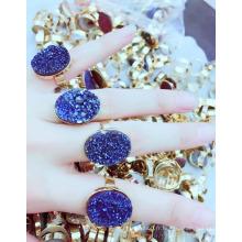 Bague druzy de mode, anneaux Druzy de femme de quartz brut de femme de mode