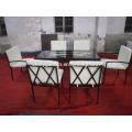 Patio de acero al aire libre de 7 piezas Mesa de comedor de vidrio Set 6 sillas Muebles
