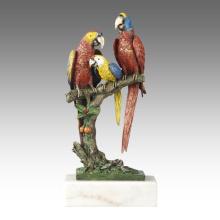 Animal Statue oiseau Perroquets Décoration Bronze Sculpture Tpal-268