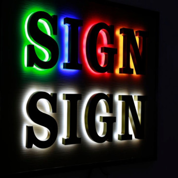 LED Halo Lit Sign Sign Brev Reverse Channel Letters