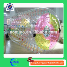 factory transparent tpu inflatable water roller for adult and kids with red dots