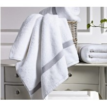 Canasin Dobby border Towels Luxury White
