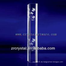 K9 3D Laser Glod Fisch geätzt Kristall mit Säulenform