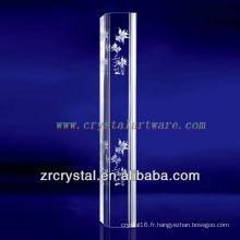 Cristal gravé par poissons de Glod de K9 3D Laser avec la forme de pilier