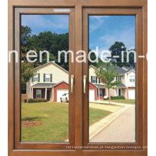 Powder Coated Wooden Color Alumínio Vidro Duplo Janela
