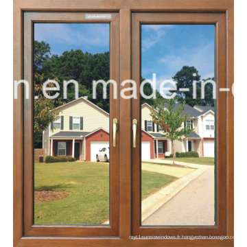 Peinture en poudre en bois en verre double vitrage en aluminium