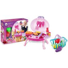 Großhandel pädagogische DIY Kunststoff BBQ Spielzeug Küche spielen Set mit Korb und Licht (10233065)
