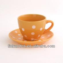 KC-03011dots coffee cup with saucer,simple orange coffee mug