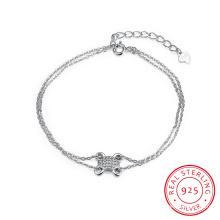925 Sterling Steel Bracelet Mutil cadena de cadena de plata esterlina pulsera encanto joyería