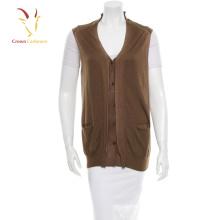 Woollen knitted waistcoat sleeveless cardigan for women