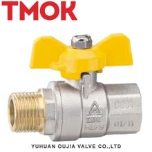 válvula de bola de gas de la manija de la mariposa del alambre interno y externo de cobre amarillo