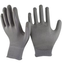 NMSAFETY завод дешевые серый вкладыш полиэфира окунутый PU на ладони перчатки работы