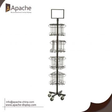 Spinning Tiered Holders Portable Magazine Display Rack