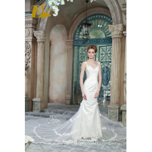 ED Bridal New Product Sexy V Neck Sleeveless Lace Appliqued Customized Mermaid Wedding Dress 2017 With Fishtail