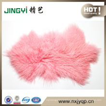 Long Curly Fur Mongolian Sheep Skin / Tibetan Lamb Skin Pelt