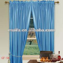 100% poliéster de alta cortina de seda de seda con bolsillo llano Rod para el hogar / Hotel