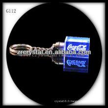 Keychain en cristal de LED avec l'image gravée par laser 3D à l'intérieur et le keychain en cristal blanc G112