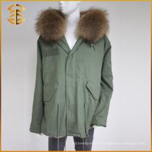 Venta al por mayor del OEM del servicio de la marca de fábrica del invierno de las mujeres de la piel del mapache de la marca de fábrica del abrigo