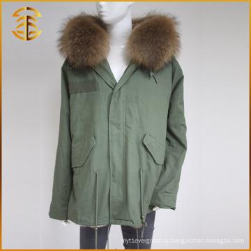 Оптовая продажа OEM реальная куртка женщин зима тавра Raccoon Fur Parka