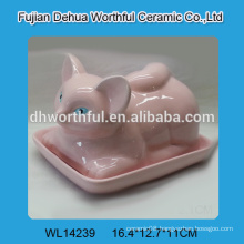 2016 new arrival pink ceramic butter dish in cute fox shape