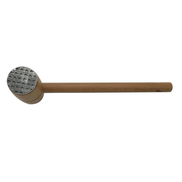Wooden Meat Tenderizer With Double Side Aluminum Mallet 2