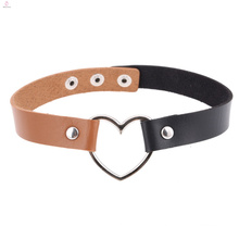 Women Gothic Punk Pu Leather Brown Black Dainty Love Heart Choker Necklace