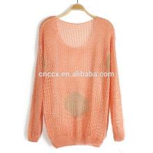 15JWS012 mulher primavera verão polka dot escavar fina blusa de mistura