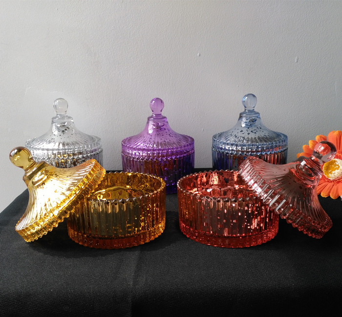 Unique Colourful Glass Candle Jar With Lid