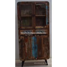 Panel de vidrio de madera vieja reciclada del art déco