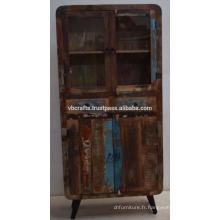 Panneau en verre recyclé en bois ancien Art Deco recyclé