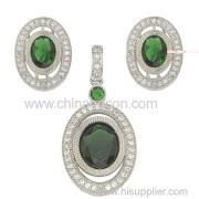 Emerald Tone Cz Jewelry Set