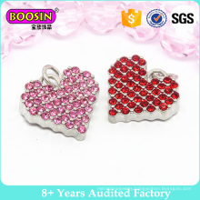 Fahshion Cyrstal Heart Charm, Red Rhinestone Metal Charm Pendant for Jewelry #B201