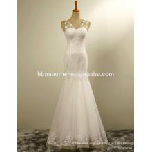 Precios de fábrica últimos diseños de vestidos que rebordean precio moderno del vestido de boda de la sirena del cordón con la flor exquisita blanca