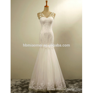 Factory price latest gowns designs beading lace modern mermaid wedding dress price with white exquisite flower