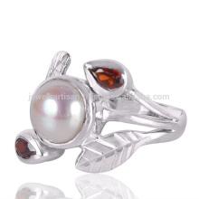 Granat und Perle Edelstein 925 Sterling Silber Artisan Schmuck Ring