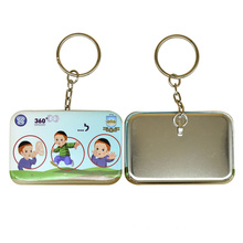 Round Corner Square Metal Key Chain with Client Design